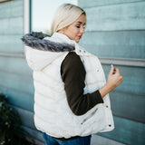 Double Zipper Luxe Vest: White
