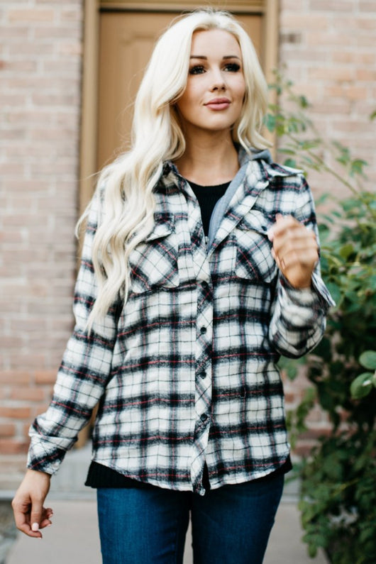 Flannel Hoodie: Ivory/Charcoal Plaid
