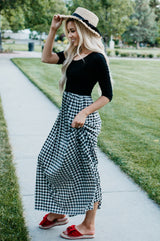 The Dusti Maxi Dress | Black Top with Black and White Check Skirt