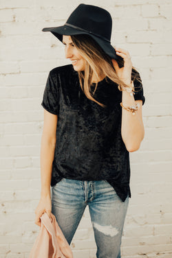 Crushed Velvet Tee: Black