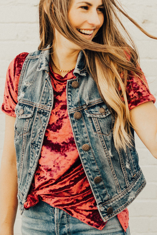 Crushed Velvet Tee: Cranberry