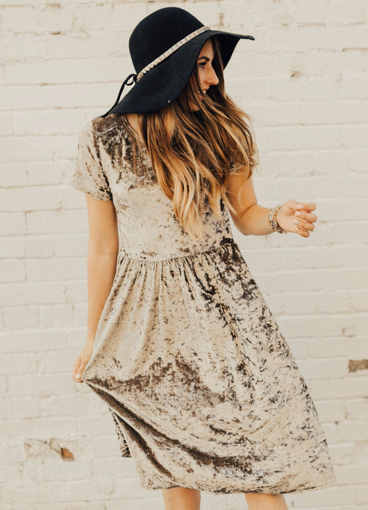 Crushed Velvet Midi Dress: Mink