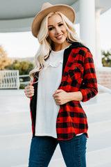 Flannel Hoodie: Red Buffalo Plaid