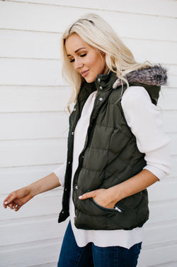 Double Zipper Luxe Vest: Olive