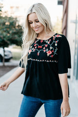 Embroidery Top: Black