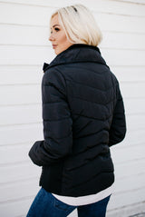 Gold Zipper Detail Coats: Black
