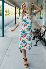 Floral Tee Dress: Ivory Floral