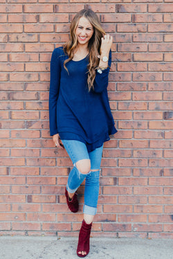 Ruffle Trim Sweater: Navy