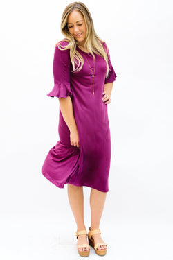 Flutter Sleeve Midi Dress: Plum Solid