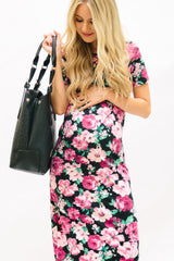 Floral Tee Dress: Pink and Black Floral