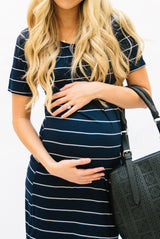 Striped Tee Dress: Navy with Thin White Stripe
