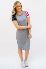 Patriotic Tee Dresses: Gray Body with One Stripe Sleeve and One Star Sleeve