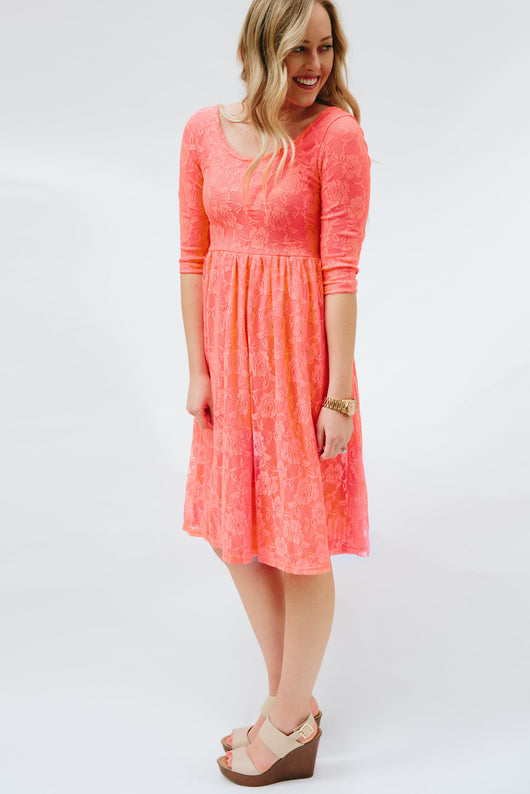 Sweetheart Lace Dress | Coral