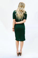 Plaid Tee Dress: Navy/Green