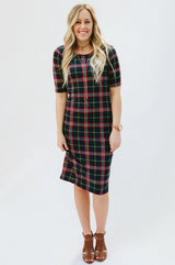 Plaid Tee Dress: Navy/Red/Green