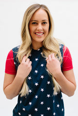 Stars and Stripes Tees: Star Body with Red Sleeves