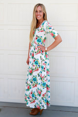 Floral Maxi Dress: Ivory