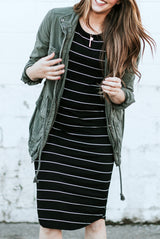 Striped Tee Dress: Black with Thin White Stripe