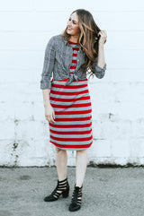 Striped Tee Dress: Red and Gray Thick Stripes