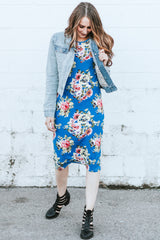 Floral Tee Dress: Blue and Yellow Floral