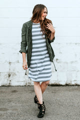 Striped Tee Dress: White and Gray Thick Stripes