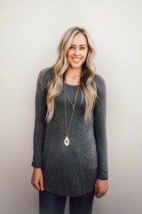 Long Sleeve Solid Tunic: Gray
