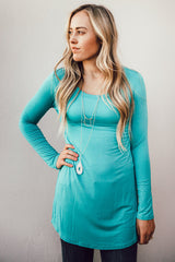 Long Sleeve Solid Tunic: Turquoise