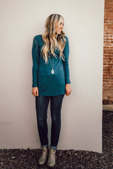 Long Sleeve Solid Tunic: Teal