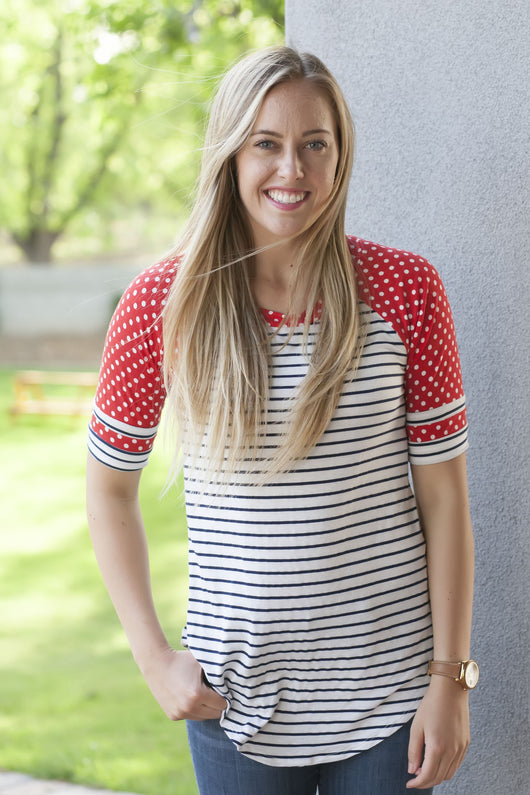 Patriotic Baseball Tees: Navy Stripe with Red Dot Sleeves