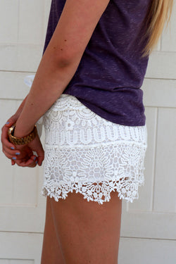 Crochet Shorts: White