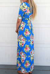 Floral Maxi Dress: Blue and Yellow