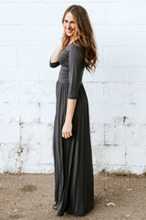 The Dusti Maxi Dress | Gray Solid