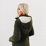 Long Quilted Coat: Olive