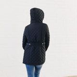 Long Quilted Coat: Navy