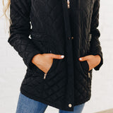 Long Quilted Coat: Black