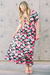 Floral Maxi Dress: Pink and Black