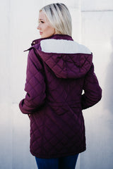 Quilted Coat with Fur Lined Hood: Wine