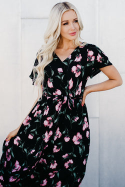 Faux Wrap Maxi Dress: Black Floral