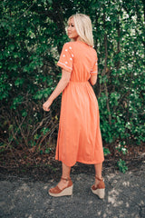 The Hailey Embroidered Dress: Coral
