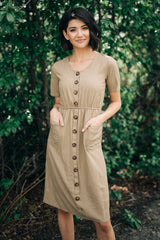 The Mallory Button Front Dress: Camel