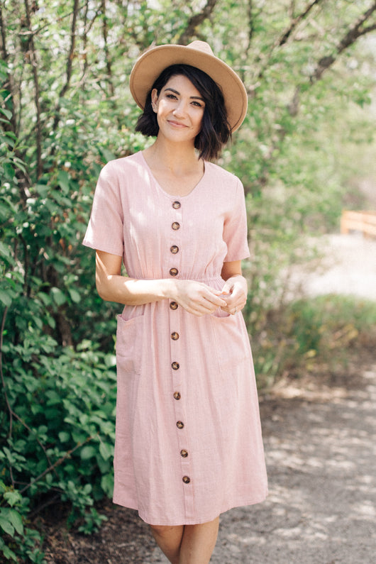 The Mallory Button Front Dress: Blush