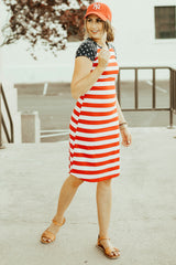 Patriotic Tee Dresses: Red Stripe Body with Star Sleeves