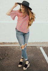 Gingham Top with Flutter Sleeves: Red