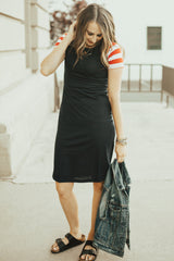 Patriotic Tee Dresses: Navy Body with Red Stripe Sleeves