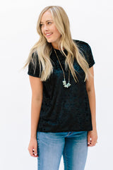 Crushed Velvet Tunic: Black