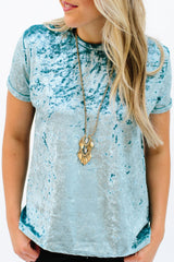 Crushed Velvet Tee: Ice Blue