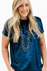 Crushed Velvet Tee: Navy