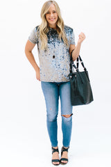 Crushed Velvet Tee: Gray