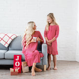 Mommy and Me Holiday House Dress: Women's Red Stripe