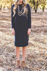 Long Sleeve Everyday Dress: Navy